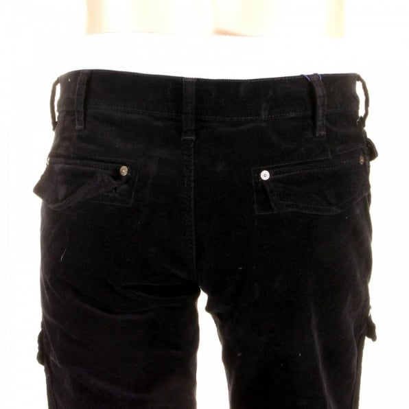 ARMANI JEANS Black Fine Cord Stretch Cotton Regular Fit Low Waist Straight Leg Jeans