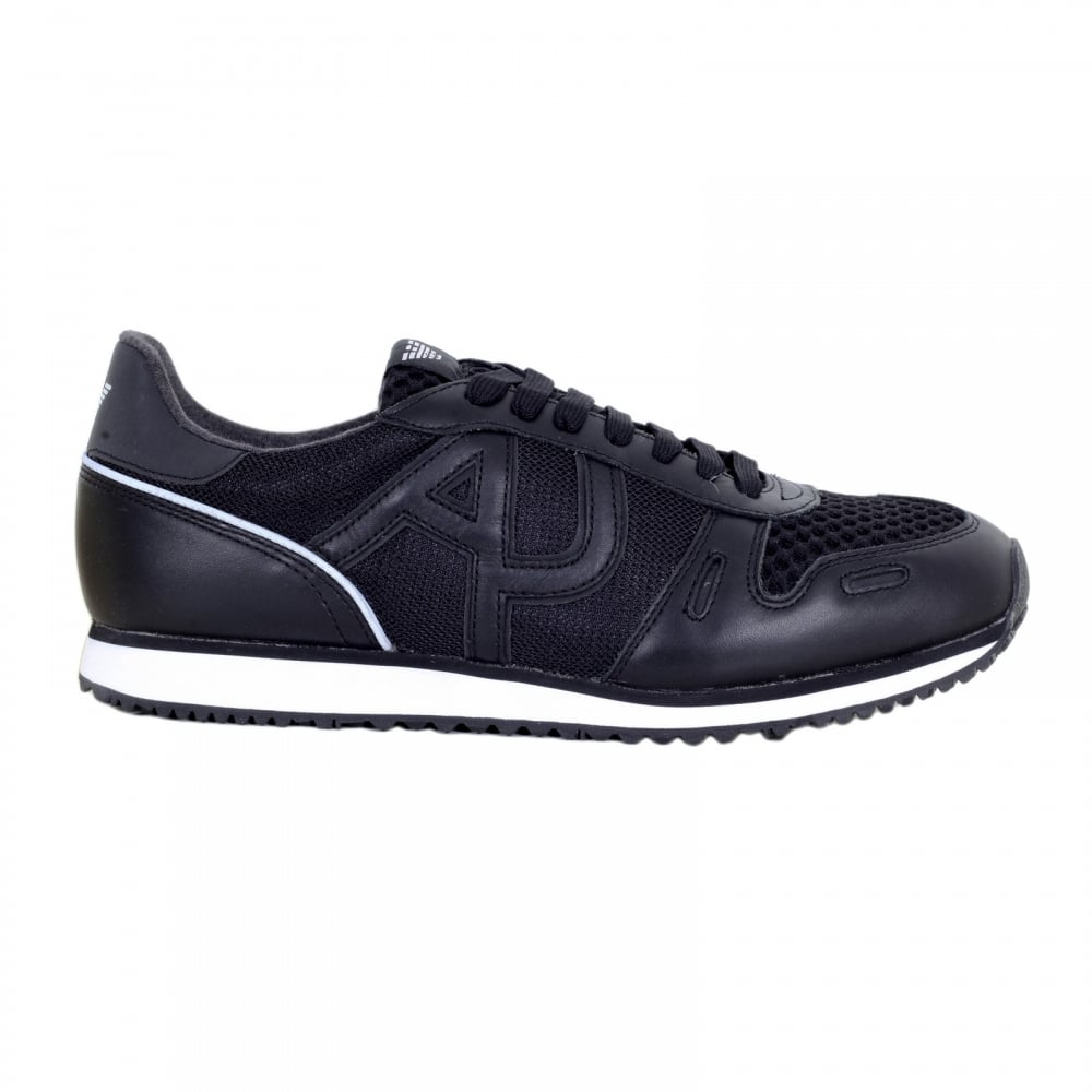 93e52b625b6c ARMANI JEANS Black Laced Front Low Top Sneakers with Nylon Uppers and  Leather Trim