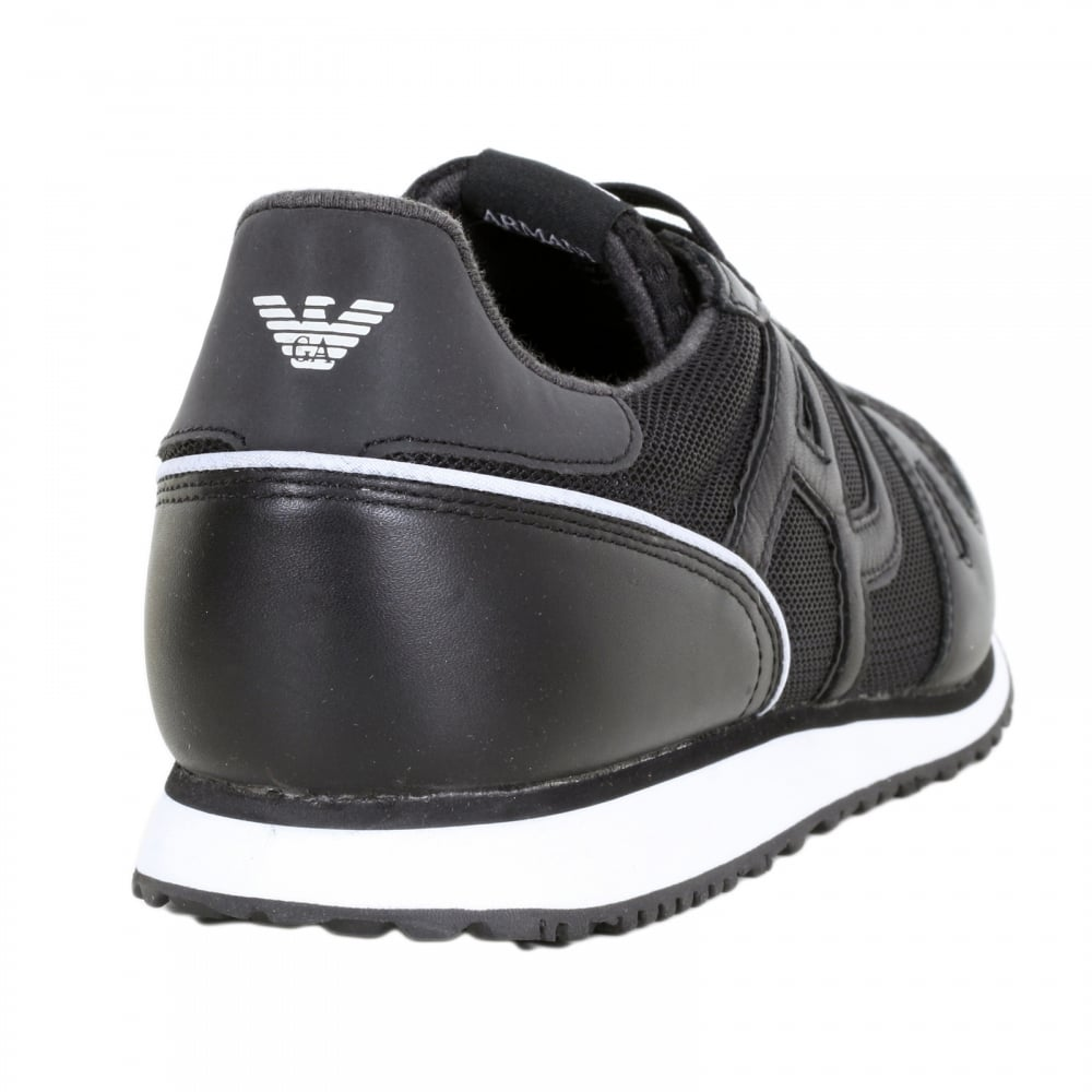 Mens Sneaker Low Cut Trainers, Black Armani Jeans