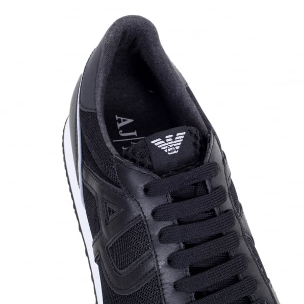ARMANI JEANS Black Laced Front Low Top Sneakers with Nylon Uppers and Leather Trim
