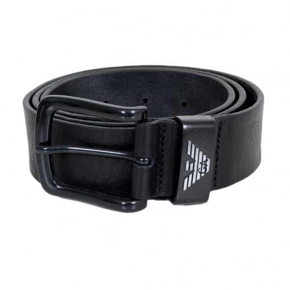 ARMANI JEANS Black Leather Casual Belt for Men with Pointed Belt Tip and Signature Eagle Logo on Belt Loop in Silver