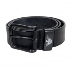 Black Leather Casual Belt for Men with Pointed Belt Tip and Signature Eagle Logo on Belt Loop in Silver