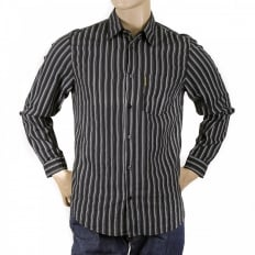 Black Long Sleeve Regular Fit Shirt with Printed Stripes