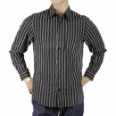 ARMANI JEANS Black Long Sleeve Regular Fit Shirt with Printed Stripes