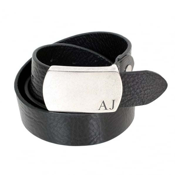 ARMANI JEANS Black Rectangular Buckle Soft Grain Leather Belt
