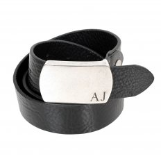 Black Rectangular Buckle Soft Grain Leather Belt