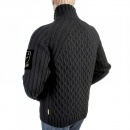 ARMANI JEANS Black Regular Fit High Collar Zipped Chunky Knit Cardigan