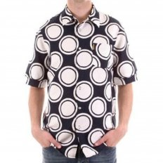 Black Short Sleeve Shirt with White Circles for Men