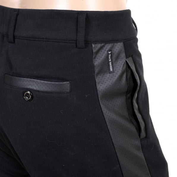 ARMANI JEANS Black Track Pants with Zip Fly, Cuffed Bottoms, Pleather Logo, Side Panels and Two Front and a Back Pocket