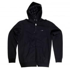 Armani Jeans Black Zipped Hooded Sweatshirt for Men with AJ Eagle Chest Logo AJM6461