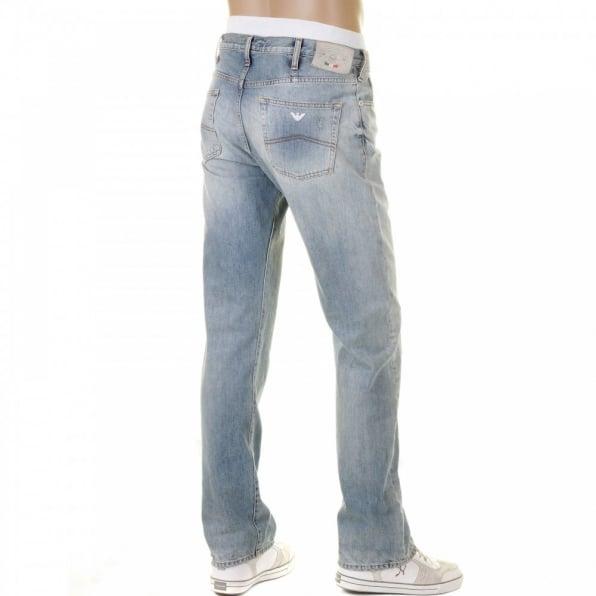 ARMANI JEANS Bleached Vintage Finish Regular Fit Button Fly Regular Waist Denim Jeans
