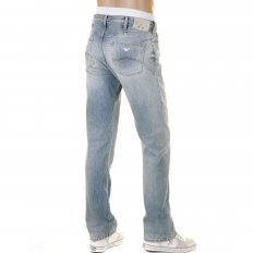 Bleached Vintage Finish Regular Fit Button Fly Regular Waist Denim Jeans