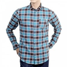 Blue and Brown Check Stretch Cotton Mens Slim Fit Shirt