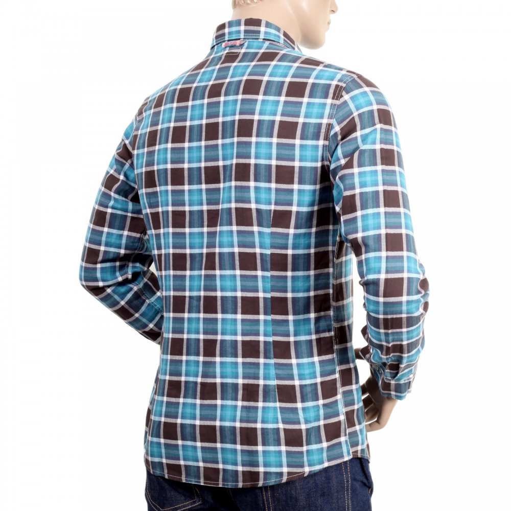 Exclusive blue and brown checked cotton shirt buy now for Slim fit cotton shirts