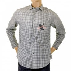 Blue and cream Long sleeve checked shirt