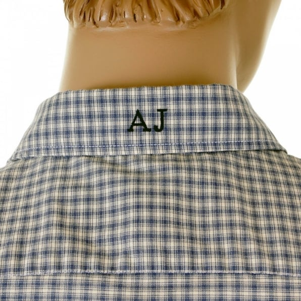 ARMANI JEANS Blue and cream Long sleeve checked shirt