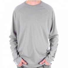 Blue Crew Neck Regular Fit Long Sleeve Eco Wash T-Shirt