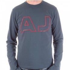 Blue Crew Neck Slim Fit Long Sleeve Stretch T-Shirt