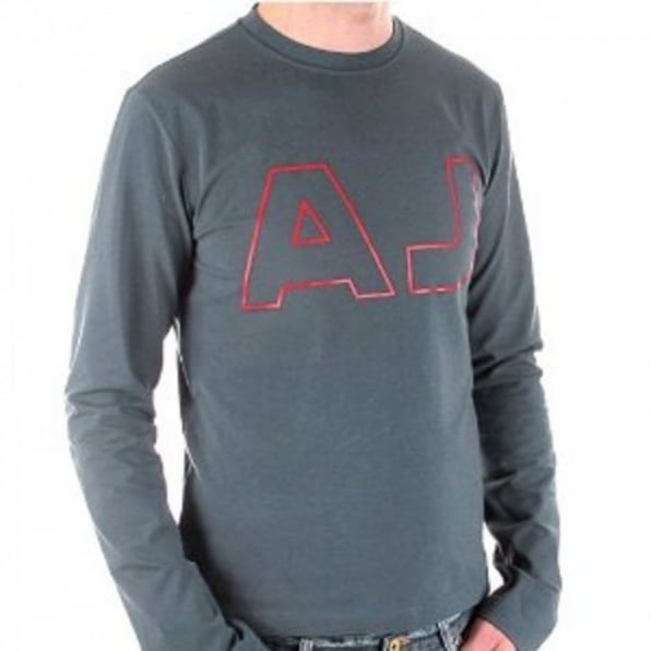 ARMANI JEANS Blue Crew Neck Slim Fit Long Sleeve Stretch T-Shirt