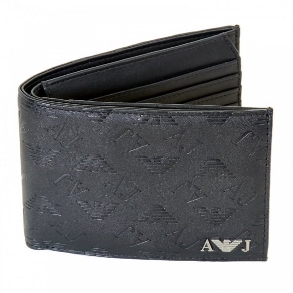 ARMANI JEANS Blue Double Bill Fold and Credit Card Wallet in Box