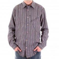 Blue/Grey Vertical Striped Long Sleeve Regular Fit Shirt