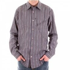Blue/Grey Vertical Striped Long Sleeve Regular Fit Shirt