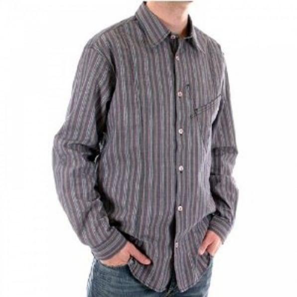 ARMANI JEANS Blue/Grey Vertical Striped Long Sleeve Regular Fit Shirt
