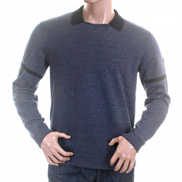 ARMANI JEANS Blue Marl Regular Fit Crew Neck Collared Long Sleeve Pullover Sweatshirt