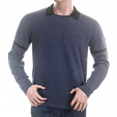 Blue Marl Regular Fit Crew Neck Collared Long Sleeve Pullover Sweatshirt