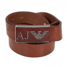 Brown Rectangular Buckle Soft Grain Leather Belt