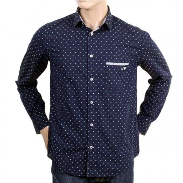 ARMANI JEANS Buy Mens 100% Cotton Navy Regular Fit Long Sleeve Shirt