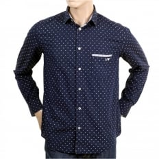 Buy Mens 100% Cotton Navy Regular Fit Long Sleeve Shirt