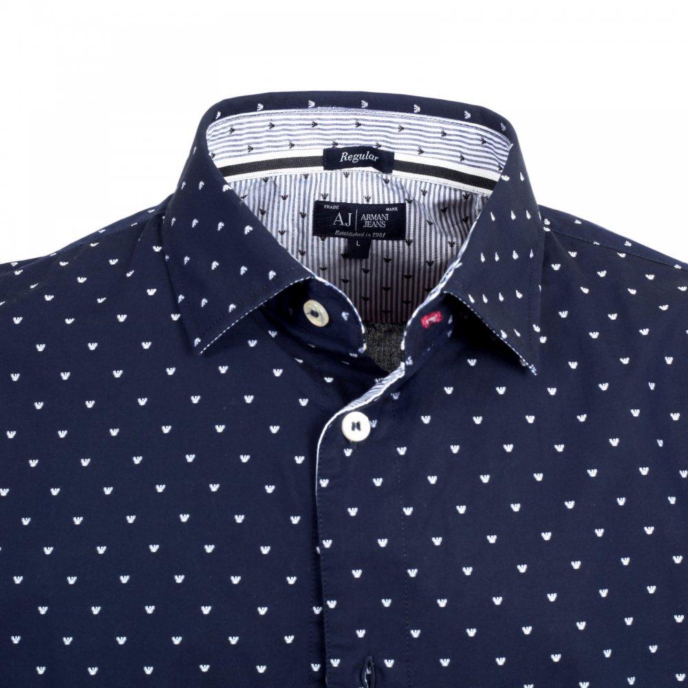 cafb1af5ad ... ARMANI JEANS Buy Mens 100% Cotton Navy Regular Fit Long Sleeve Shirt ...