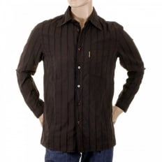 Chocolate Brown Long Sleeve Fitted Shirt with Woven Stripes