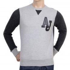 Crew Neck Grey Sweatshirt with Darker Grey Knitted Back and Sleeves with Pleather AJ Applique Chest Logo