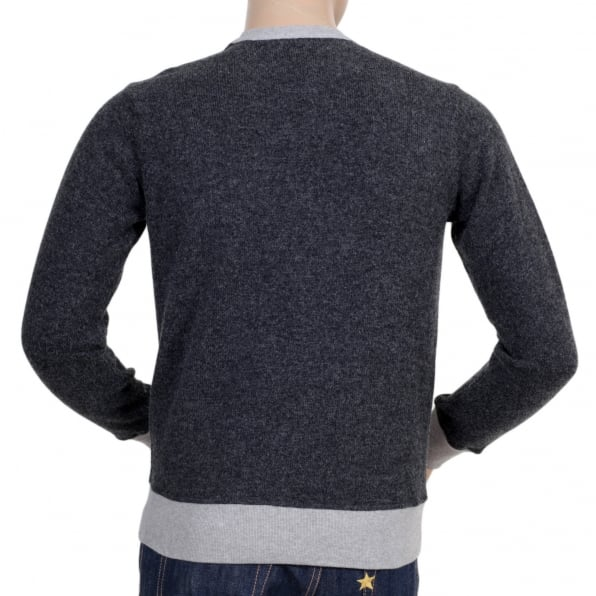 ARMANI JEANS Crew Neck Grey Sweatshirt with Darker Grey Knitted Back and Sleeves with Pleather AJ Applique Chest Logo