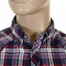 ARMANI JEANS Crinkle Effect Woven Long Sleeve Fitted Check Shirt