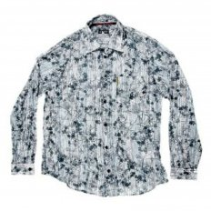 Cyan Printed Regular Fit Long Sleeve Shirt