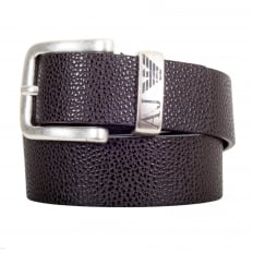 Dark Brown 06196 R6 Leather Belt with a Metal Rectangular Buckle and Belt Loop