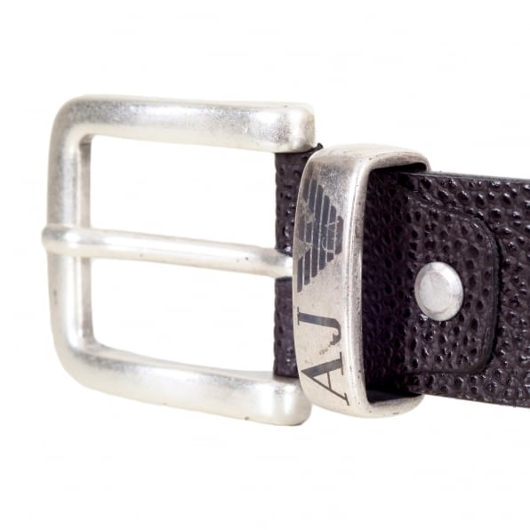 ARMANI JEANS Dark Brown 06196 R6 Leather Belt with a Metal Rectangular Buckle and Belt Loop
