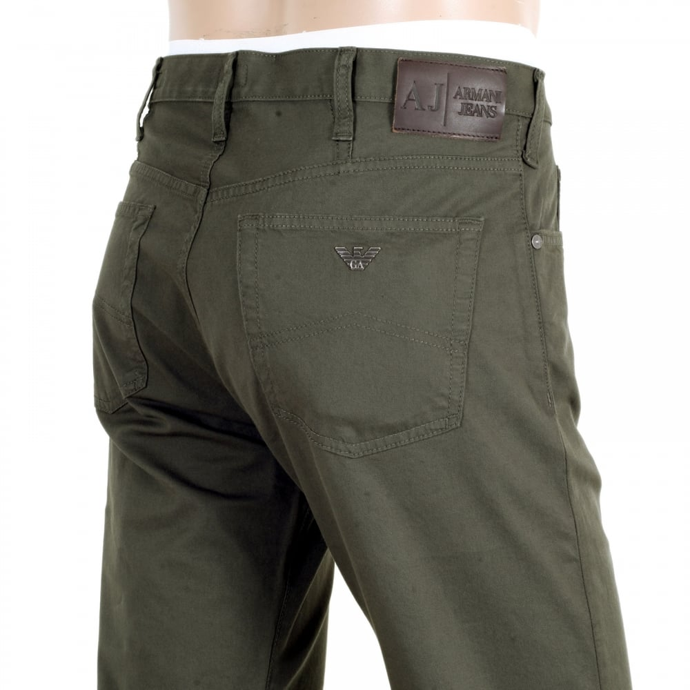 299e8bee9bd4 ... ARMANI JEANS Dark Green J21 Regular Fit Stretch Jeans for Men with  Button Fly and Metal ...