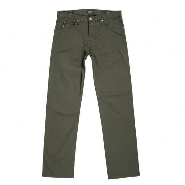 ARMANI JEANS Dark Green J21 Regular Fit Stretch Jeans for Men with Button Fly and Metal Eagle Logo on Back Pocket