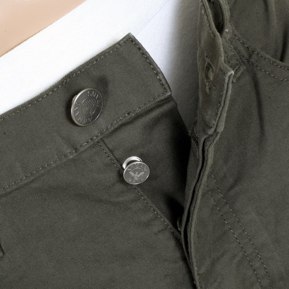 c0e7976b4e28 ... ARMANI JEANS Dark Green J21 Regular Fit Stretch Jeans for Men with  Button Fly and Metal ...