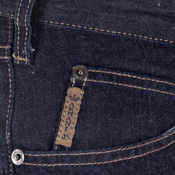 ARMANI JEANS Dark Indigo Cotton and Linen Mix Lightweight Denim Jeans