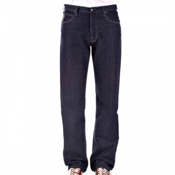 ARMANI JEANS Dark Indigo Cotton and Linen Mix Lightweight Denim Jeans