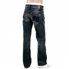Dark Stonewash Regular Fit Low Waist Straight Leg Denim Jeans