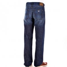 Dark Stonewash Relaxed Fit Regular Waist Straight Leg Denim Jeans