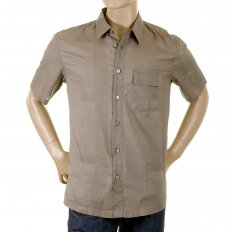 Dark Taupe Woven Cotton Short Sleeve Fitted Shirt with Self Coloured Checks