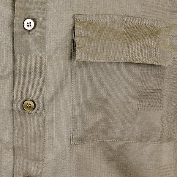ARMANI JEANS Dark Taupe Woven Cotton Short Sleeve Fitted Shirt with Self Coloured Checks