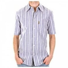 Eco Wash Blue/White Woven Striped Regular Fit Shirt